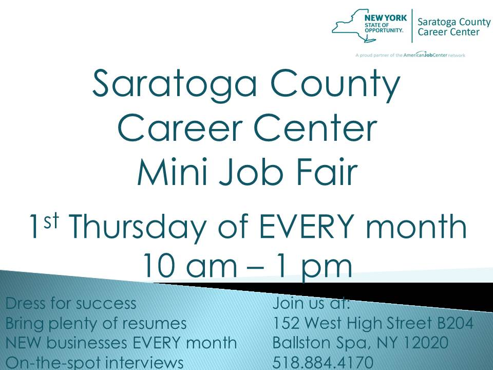 2018 JOB FAIR @ Saratoga County Career Center